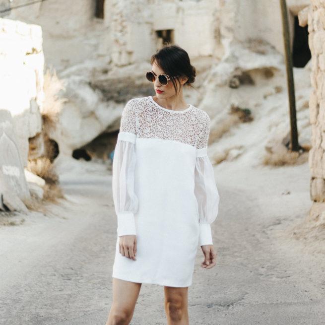 robe de mariée courte manches longues