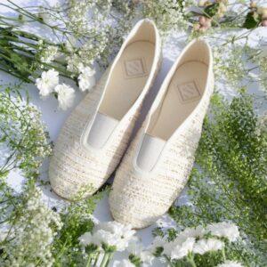 Ballerine mariage en tweed