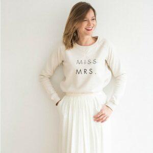sweat buttée miss mrs pour jeune mariée. sweat message mariage stylé acheter boutique paris et en ligne