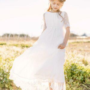 robe baptême blanche bohème longue thelma