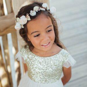 Robe fille Stella Les Petits Inclassables de style glitter chic pour mariage, cortège, cérémonie ou demoiselles d'honneur. Acheter boutique Paris