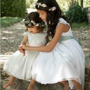 Robe fille Aurore Les Petits Inclassables robe de baptême cérémonie et cortège pour petite fille. Petite robe style princesse jupon. Dispo boutique Paris