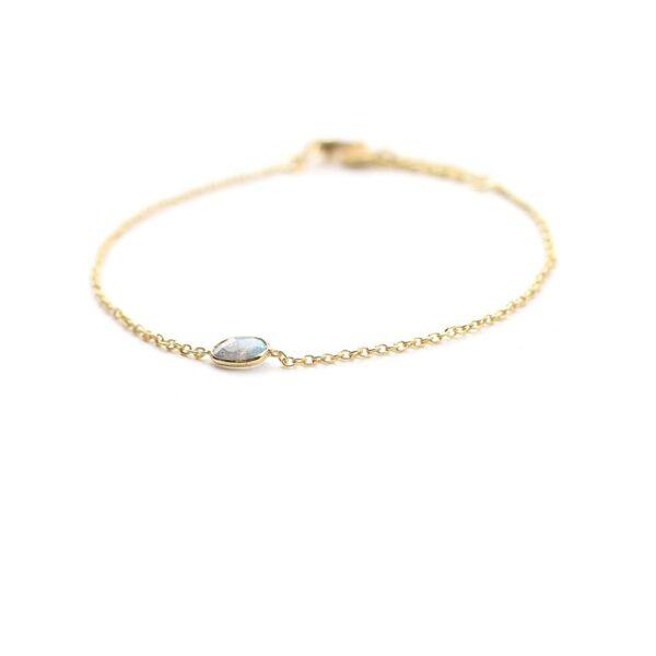 Bracelet orné d'une pierre naturelle labradorite. Bracelet en argent plaqué or et pierre bleue grise. Disponible en ligne et dans notre boutique à Paris