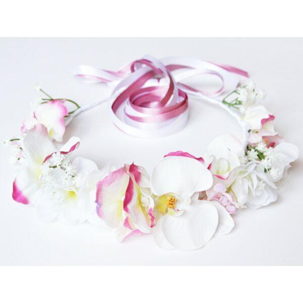 Couronne de fleurs orchidées et fleurs roses et blanches Couronne faite main à Paris. Couronne pour mariage ou quotidien. Boutique Paris