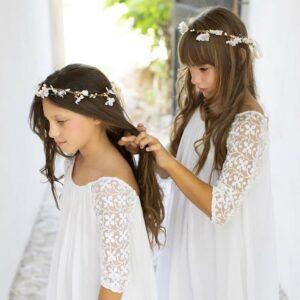 Robe longue fille Ava Les Petits Inclassables style bohème chic pour baptême, mariage, cortège, cérémonie ou demoiselles d'honneur. Acheter boutique Paris