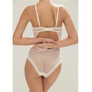 Pièce de lingerie Body en tulle blanc Quartz. Body transparent en tulle chic et sexy. Petits prix. Acheter en ligne et boutique à Paris 11ème