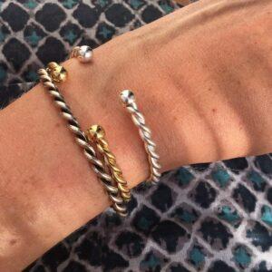 Bracelet jonc torsadé doré à l'or fin. Bijou bohème chic plaqué or. Petits prix Acheter boutique bijoux Paris et en ligne