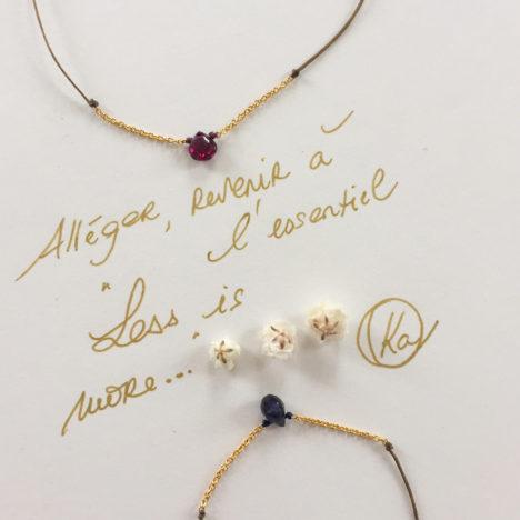 Bracelet cordon et chaîne pierre de couleur Less is more par Ka.Paris. Bracelet créateur moins de 60€ fait main. Acheter en ligne et boutique à Paris 11ème