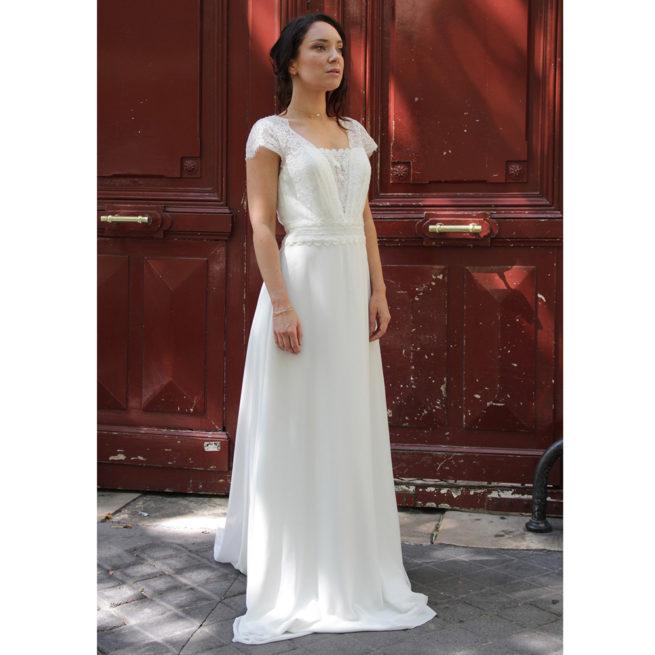 ROBE DE MARIEE BOHEME DENTELLE BO'M JEANNE ACHETER BOUTIQUE MARIAGE PARIS