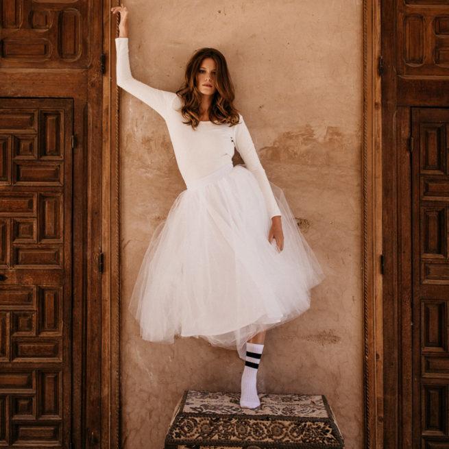 By Romance - Body blanc dentelle Ballerine. Body de mariée simple et chic. Acheter en ligne et dans notre boutique à Paris
