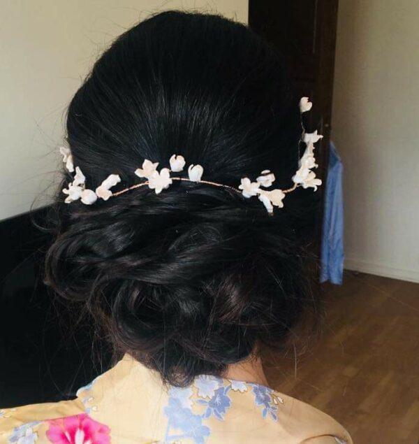 tiare sur coiffure mariée mariage bohème chignon tresse