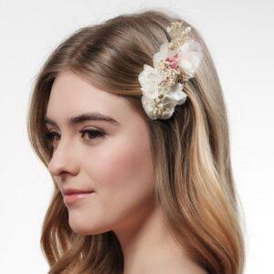 Peigne de fleurs stabilisées multicolores Poirier. Accessoire de cheveux mariée fleuri pour mariage. Acheter boutique Paris et en ligne