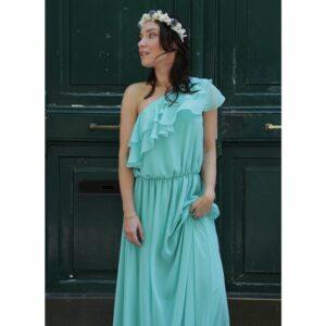 Robe longue asymétrique à volants colorée . Robe chic pour mariage et évènement à moins de 200€. Acheter en ligne ou en boutique à Paris