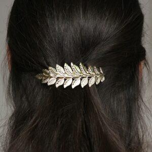 Accessoire de cheveux barrette feuilles bronze doré. Accessoire de tête pour mariée bohème pour chignon ou coiffure wavy. Acheter boutique Paris ou en ligne