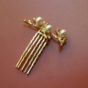 Accessoire de cheveux pic à chignon doré façon corail. Accessoire de tête pour mariée bohème pour chignon ou coiffure. Acheter boutique Paris ou en ligne