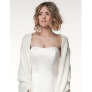 Etole tricotée couleur ivoire Poirier. Châle, boléro, étole cape mariée blanche accessoire. Acheter en boutique mariage à Paris ou en ligne