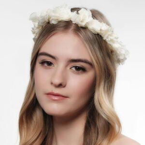 Couronne de fleurs stabilisées et séchées couleur blanc ivoire. Accessoires cheveux pour mariée. Mariage champêtre chic. Acheter boutique à Paris et en ligne