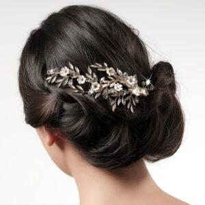 Accessoire de cheveux feuilles dorées et strass Poirier. Bijou de tête mariée doré feuilles, fleurs et strass. Acheter en ligne et boutique Paris