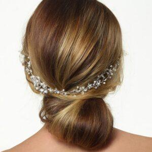 Accessoire de cheveux argent fleurs et strass Poirier. Bijou de tête mariée doré feuilles, fleurs et strass. Acheter en ligne et boutique Paris