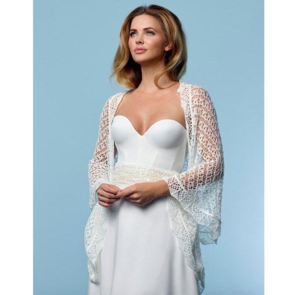 Châle tricoté couleur ivoire Poirier. Châle, boléro, étole cape mariée blanche accessoire. Acheter en boutique mariage à Paris ou en ligne
