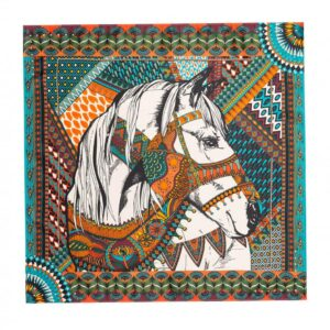 Amenapih Mini foulard Gypsyhorse Blue. Accessoire femme foulard cadeau motif cheval. Acheter en ligne ou boutique Paris 11ème