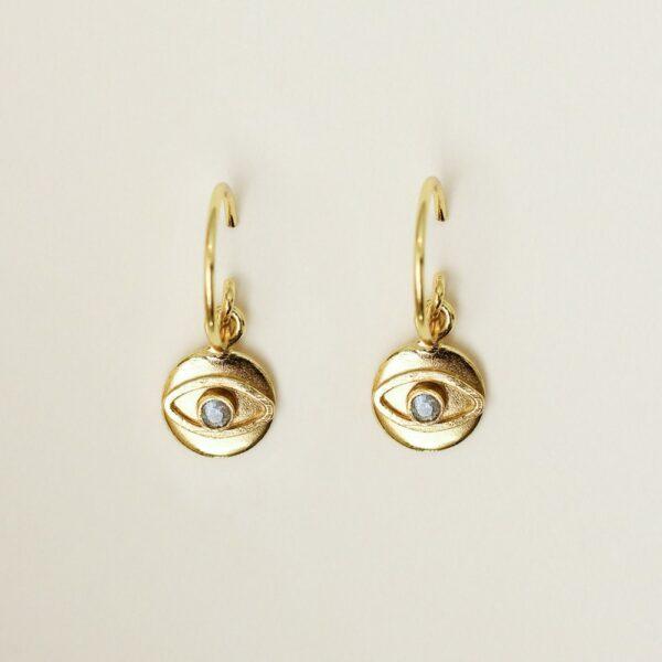 Boucles d'oreille anneaux et petit pendentif oeil. Bijou fait main créatrice bijoux design oeil yeux. Acheter boutique Paris et en ligne