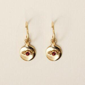 ucles d'oreille dorées pendentif rond et pierre. Paire boucles rondes pour mariée bohème chic. Accessoire mariage. Acheter boutique paris et en ligne