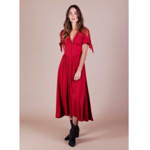 Robe mi-longue Rosa couleur terracotta. robe midi journée ou soirée couleur bordeaux. Robe stylée décolletée. Acheter boutique Paris et en ligne