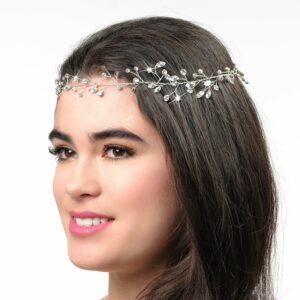 cessoire de cheveux couronne fine à décor de strass. Bijou de tête mariée brillant strass. Acheter en ligne et boutique mariage Paris