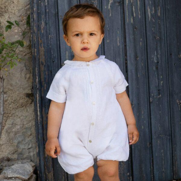 Barboteuse garçon Ange Les Petits Inclassables style bohème chic pour baptême, mariage, communion. Boutique tenues de cérémonie enfant Paris