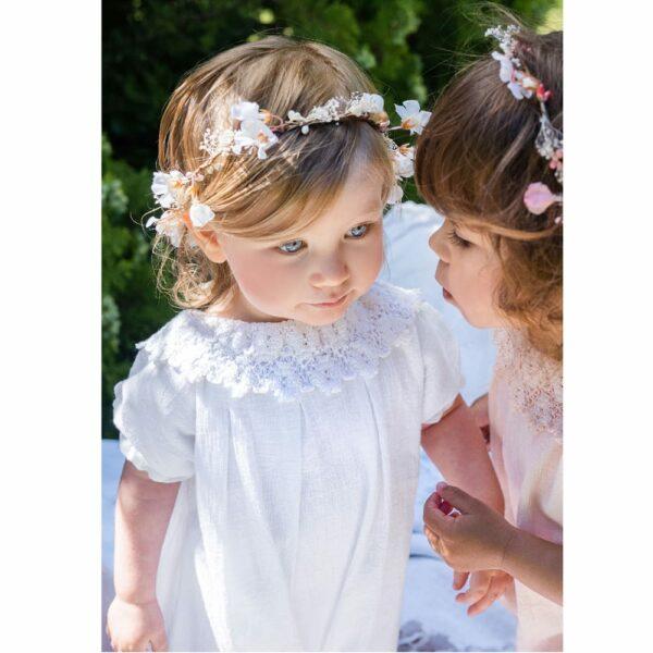 Barboteuse Fille Charlie Les Petits Inclassables style bohème chic pour baptême, mariage, communion. Boutique tenues de cérémonie enfant Paris