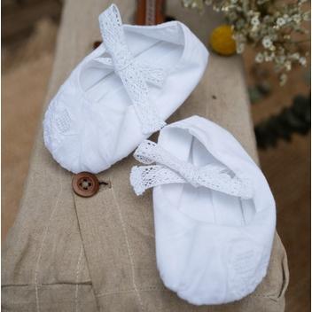 Chaussons bébé fille Sophie Les Petits Inclassables en coton et broderie look retro vintage. Cadeau baptême. Acheter boutique Paris ou en ligne
