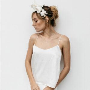 By Romance - Top blanc en soie Dany. Top mariée blanc ivoire bretelles fines. Robe de mariée ensemble stylé. Acheter boutique Paris et en ligne