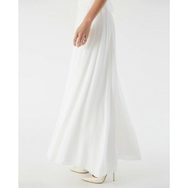 Jupe longue de mariée blanc ivoire. Jupe longue plissée simple et bohème. Petits prix. Acheter en ligne et boutique Paris