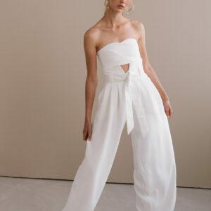By Romance - Pantalon blanc de mariée Aimée
