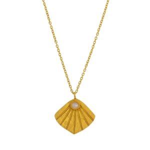 Collier Flabelleta plaqué or style rétro vintage et petite perle. Bijou bohème chic petits prix. Acheter dans notre boutique à Paris et en ligne