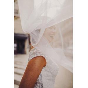 Robe de mariée longue Charline Bo'M collection 2021. Essayer robe de mariée mousseline et dentelle boutique mariage Paris