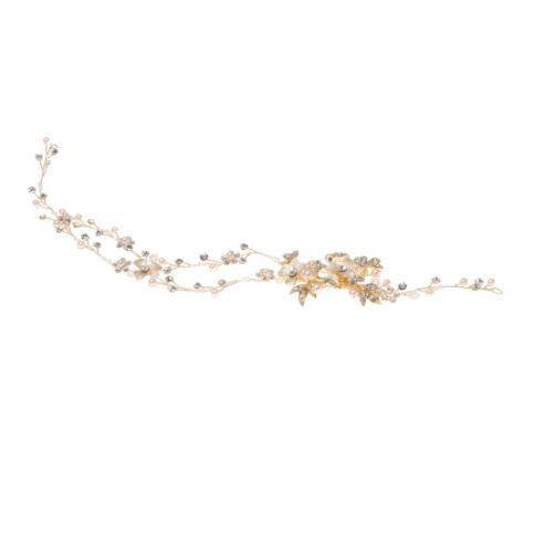 Accessoire de cheveux doré à fleurs et strass Poirier. Bijou de tête mariée doré feuilles, fleurs et strass. Acheter en ligne et boutique Paris