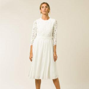 Robe de mariée top dentelle longueur midi 2 en 1. Robe courte mariage civil manches longues. Petits prix. Acheter en ligne et boutique Paris
