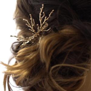 Peigne doré façon branches Ava - petit modèle par créatrice Jeannette. Accessoire cheveux plaqué or doré végétal. Acheter boutique bijoux Paris et en ligne