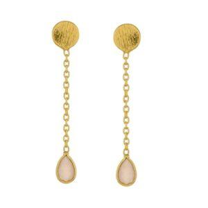 Boucles d'oreille petit pendentif pierre rose. Bijou mariée discret plaqué or. Disponible dans notre boutique à Paris et en ligne