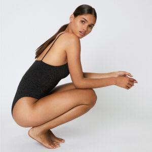 Lingerie Body couleur noir doré lurex Luna . Body lurex sexy et confortable. Acheter boutique paris et en ligne