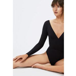 Lingerie Body manches longues couleur noir Sagitta. Body décolleté coton noir sexy et confortable. Acheter boutique paris et en ligne