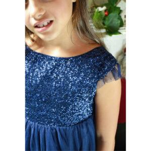 Robe fille Stella bleu nuit Les Petits Inclassables de style glitter chic pour noel et fêtes de famille. Acheter boutique Paris