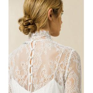 Top dentelle fine manches longues blanc ivoire. Tenue mariée stylée ensemble. Petit prix. Acheter en ligne et boutique Paris