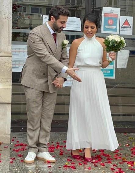 real bride mariée hiver mariage civil cérémonie civile paris robe longue simple