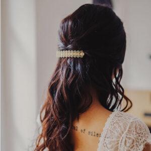 Barrette pour cheveux décor dentelle rétro dorée