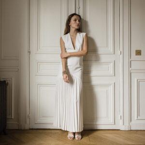 Robe de mariée longue midi blanc ivoire Marlène. Tenue de mariée ensemble blanc ivoire. Mariage civil. Acheter boutique Paris et en ligne