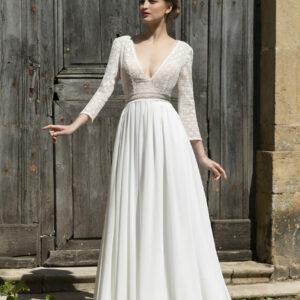 Robe de mariée longue Dolores manches longues