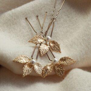 Pics à chignon Côme petites feuilles dorées et perles
